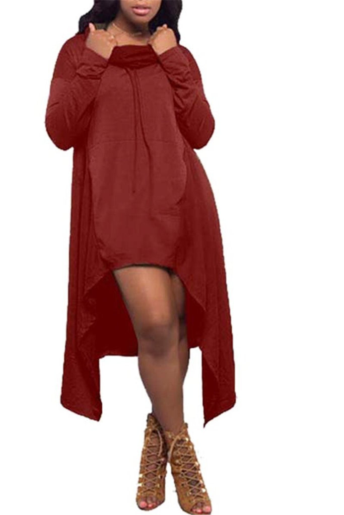 Cowl Neck Hooded Dress - SISTALOOK