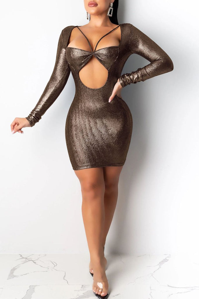 Hollow Out Sequin Long Sleeve Mini Dress