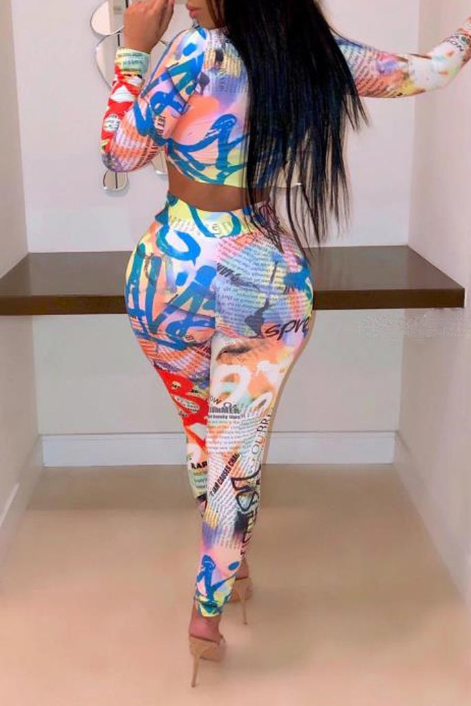 Placement Print High Waist Two Piece Sets