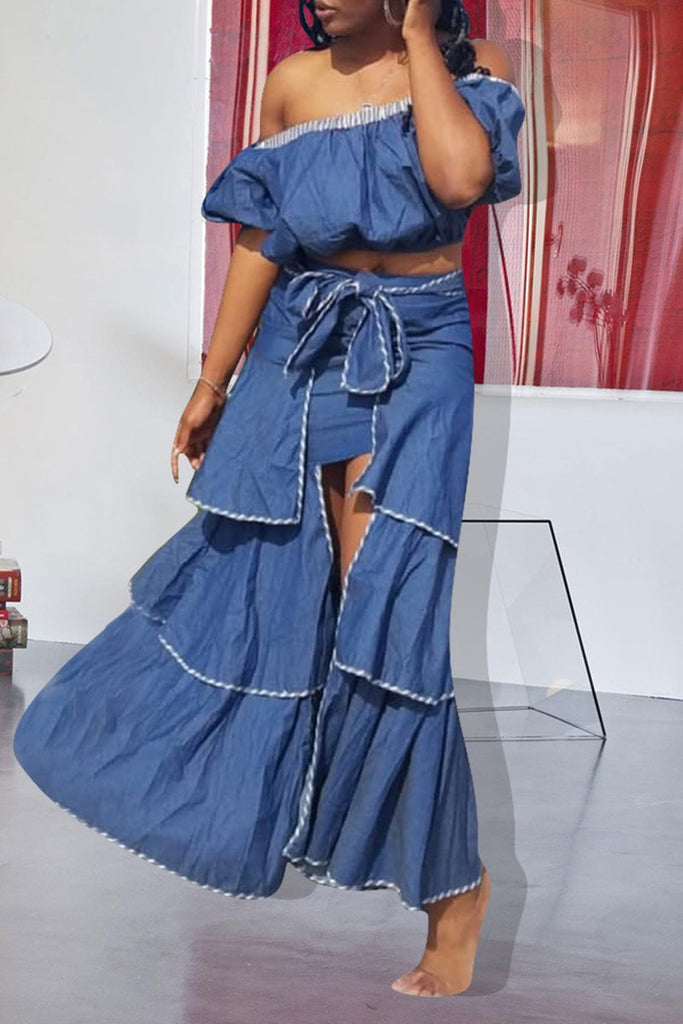 Ruffled Off The Shoulder Denim Two Piece Dress