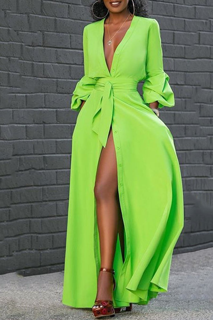 Flared Sleeve Pocket Maxi Dress With Belt