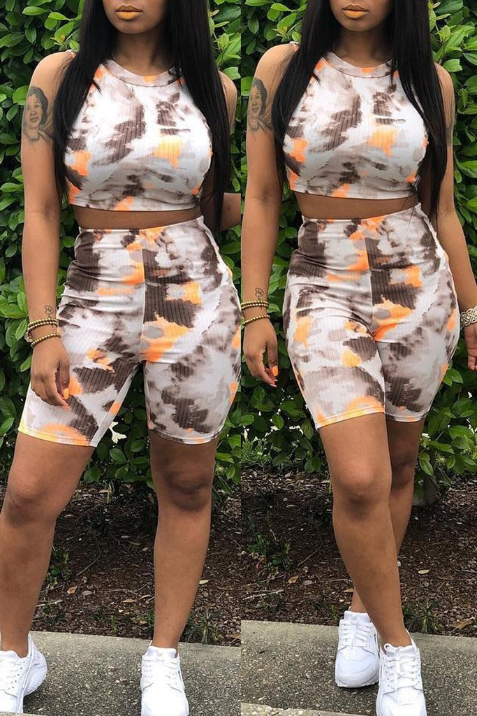 Tie Dye Sleeveless Casual Two Piece Sets