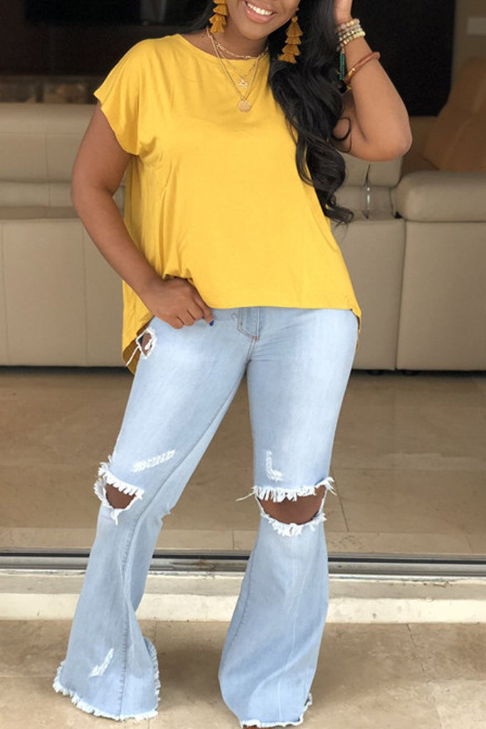 Plus Size Asymmetric Open Back Solid T-shirt