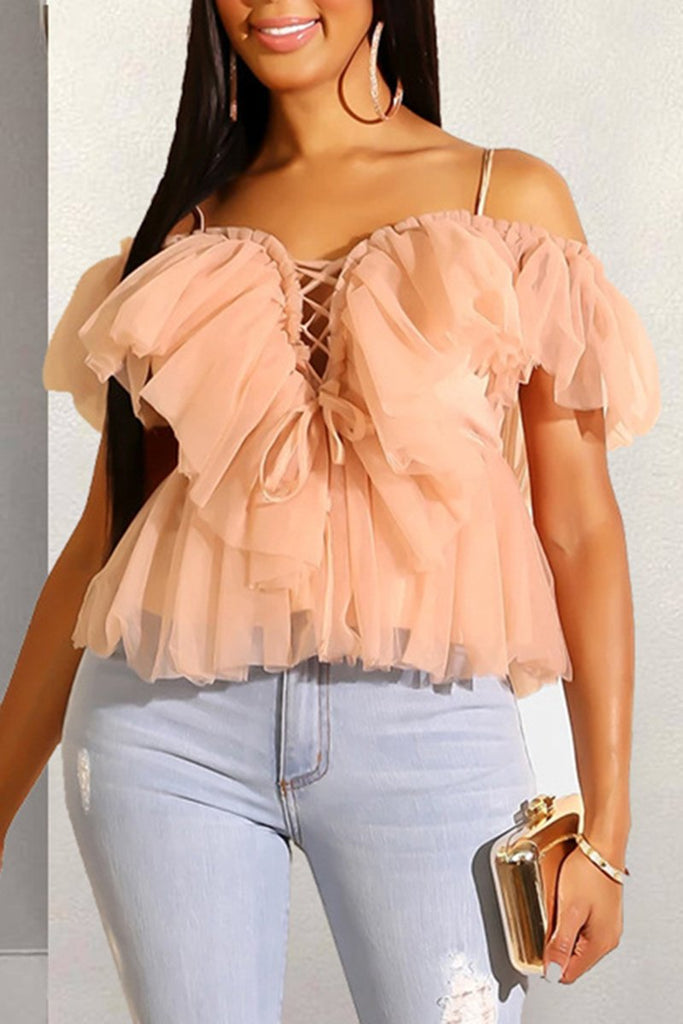 Bandage Ruffled Solid Color Top