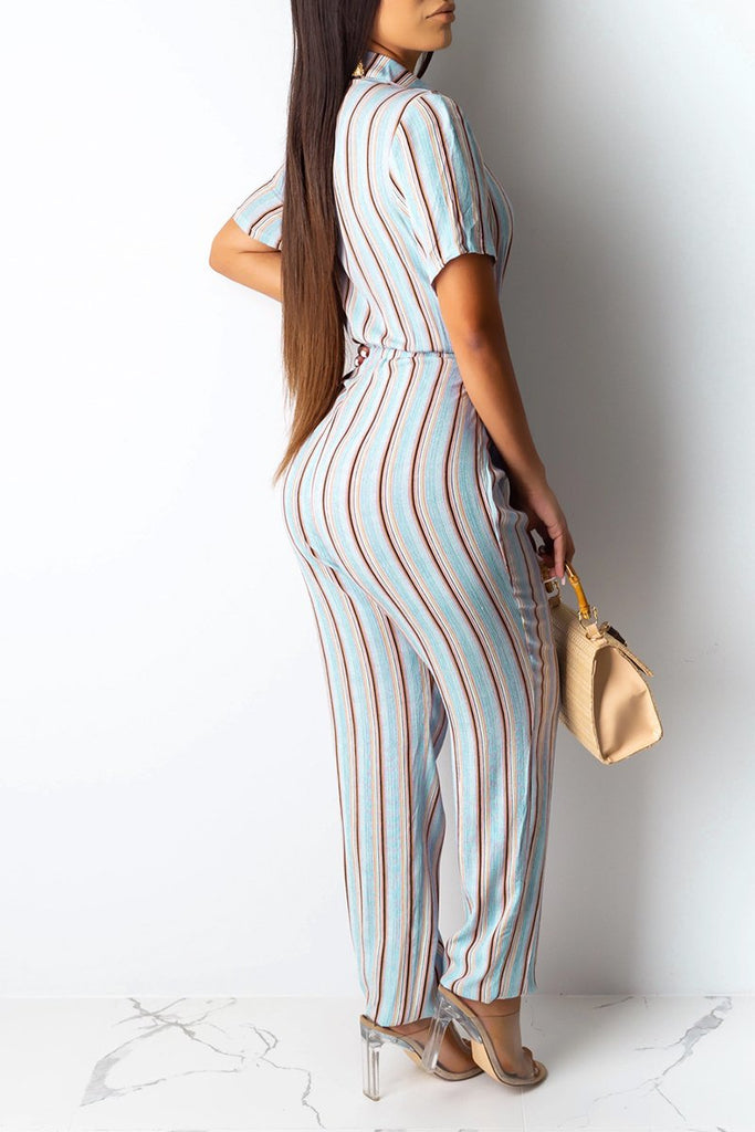 Striped Button Short Sleeve Jumpsuit With Belt