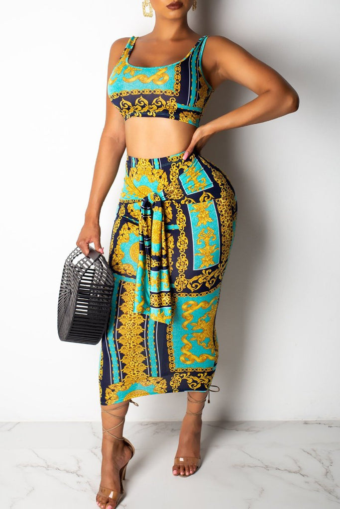 Knotted Print Open Back Sleeveless Two Piece Midi Dress