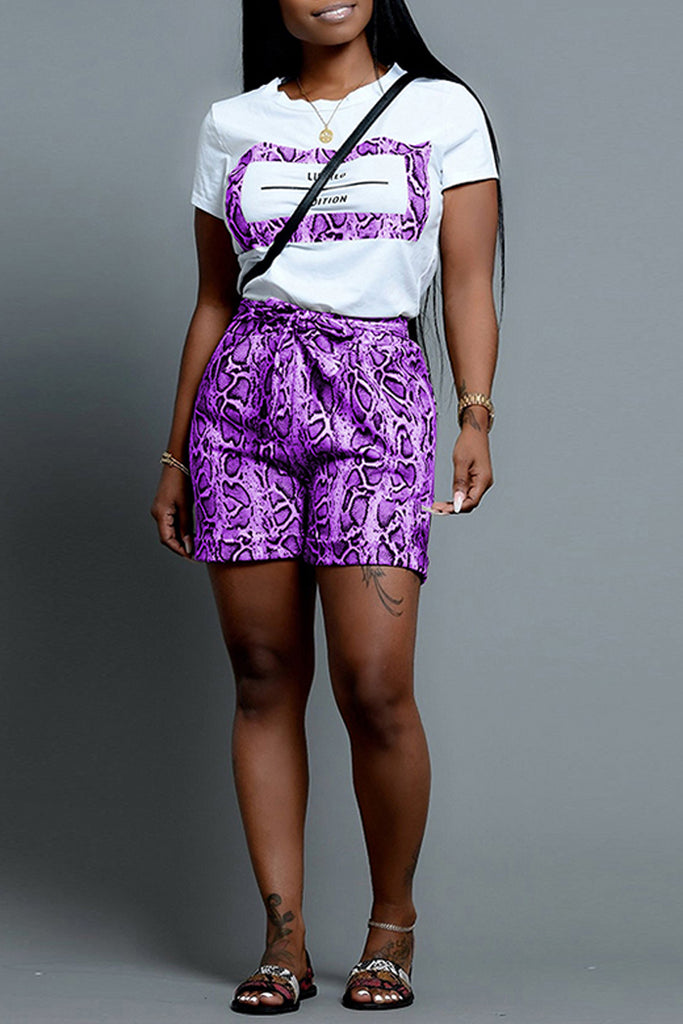 Snake Print Patchwork Belted Top & Shorts