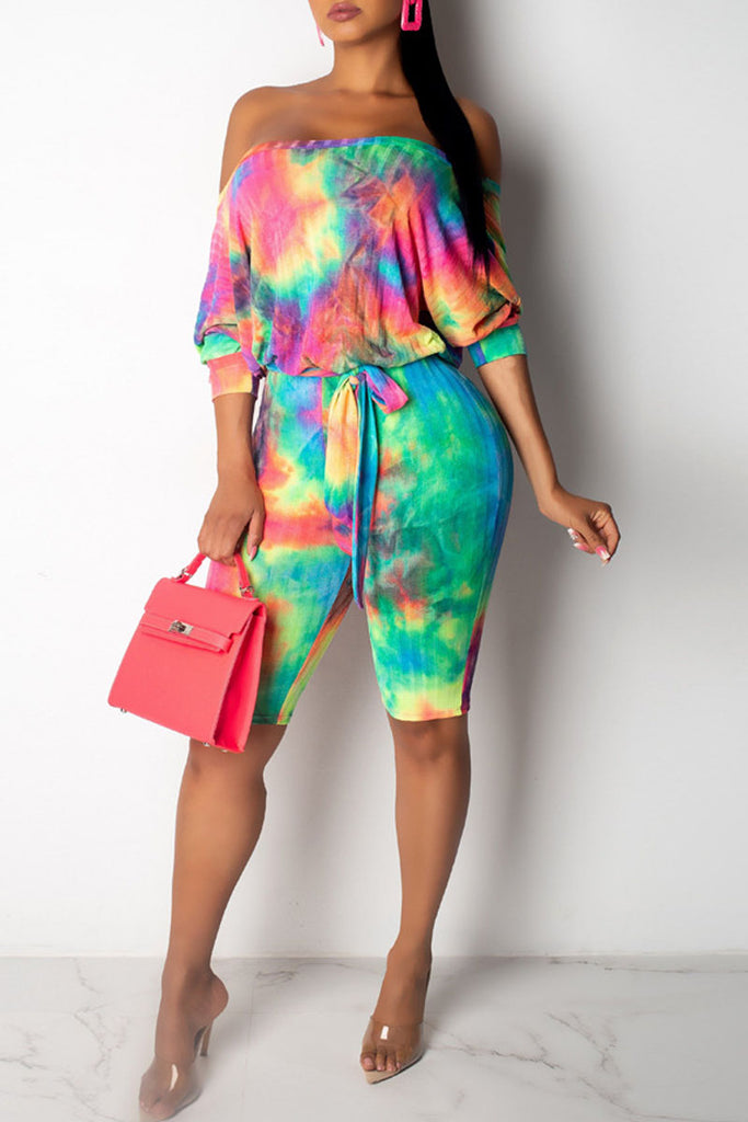Gradient Print Off The Shoulder Belted Romper
