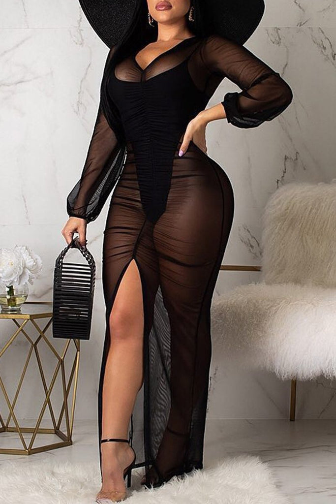 See-through V-neck Slit Hem Long Sleeve Maxi Dress
