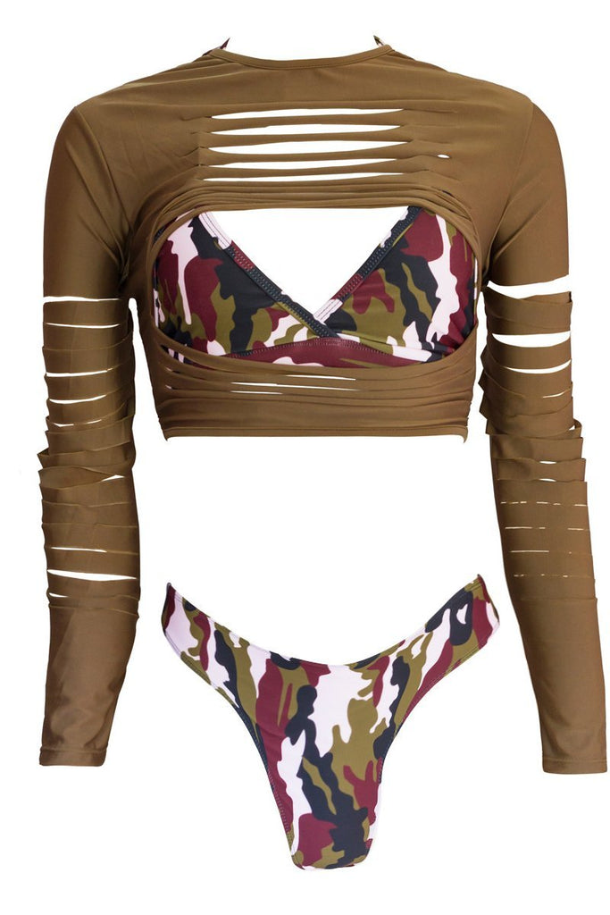 Camouflage Printed Long Sleeve Three Piece Swimwear