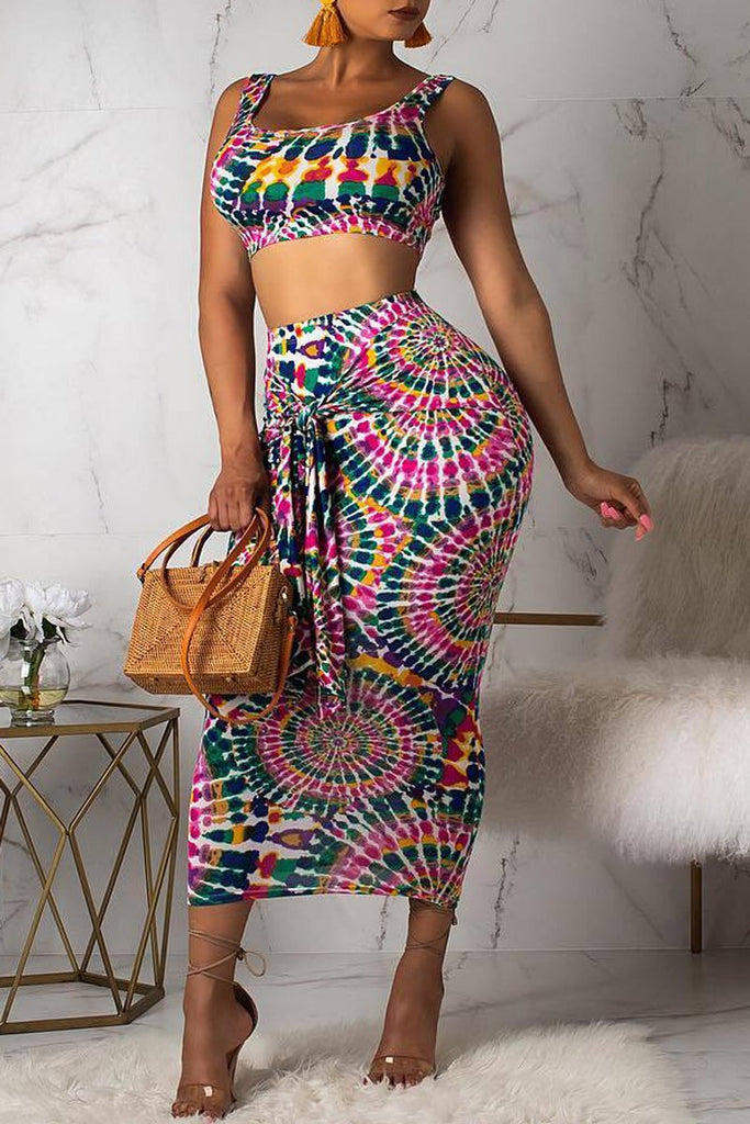 Tie Dye knotted Sleeveless High Waist Two Piece Midi Dress