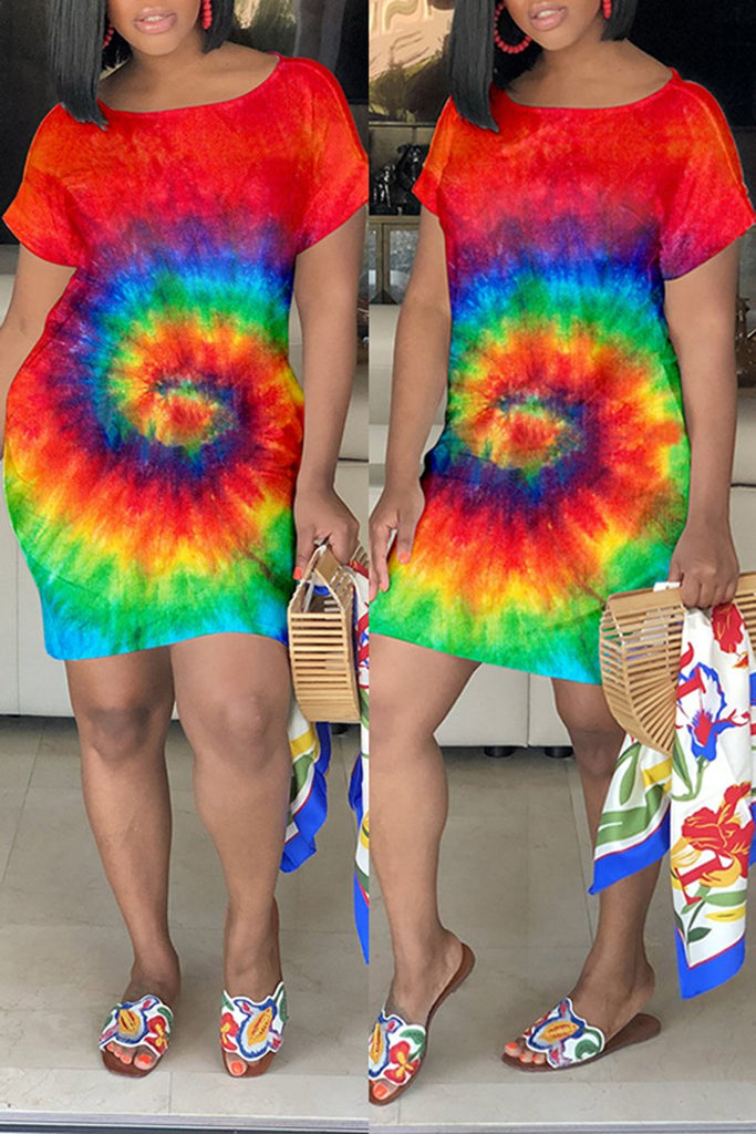 Short Sleeve Tie Dye Mini Dress