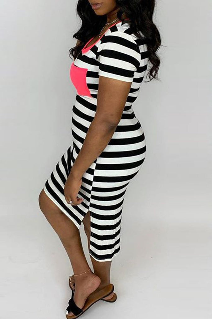 Stripe Print Asymmetric Hem Pocket Midi Dress