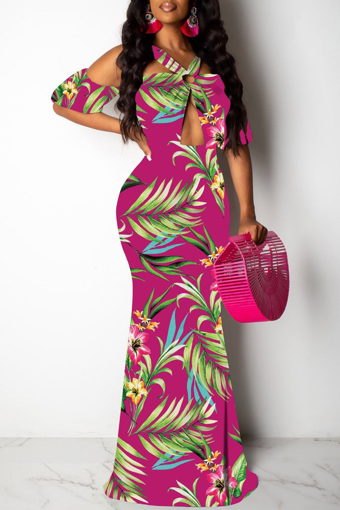 Digital Print Open Back Hollow Out Maxi Dress