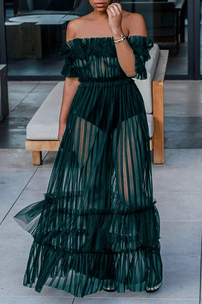 Off The Shoulder See-through Ruffle Maxi Dress