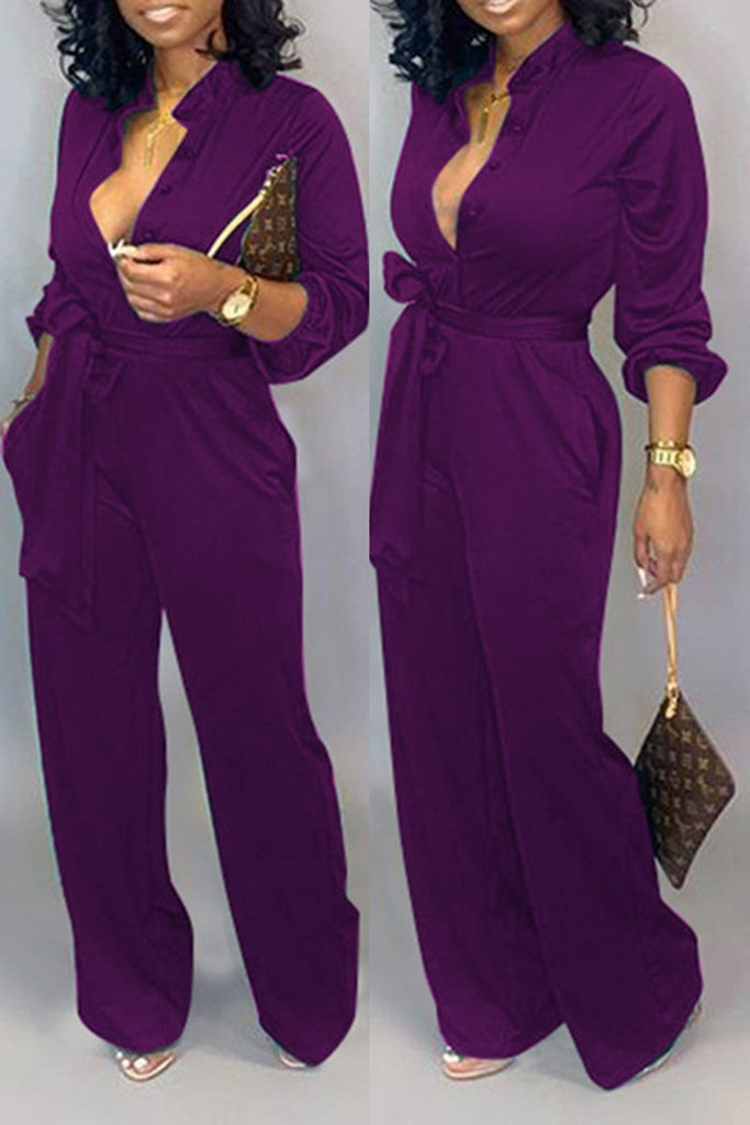 Solid Color Button Jumpsuit With Belt