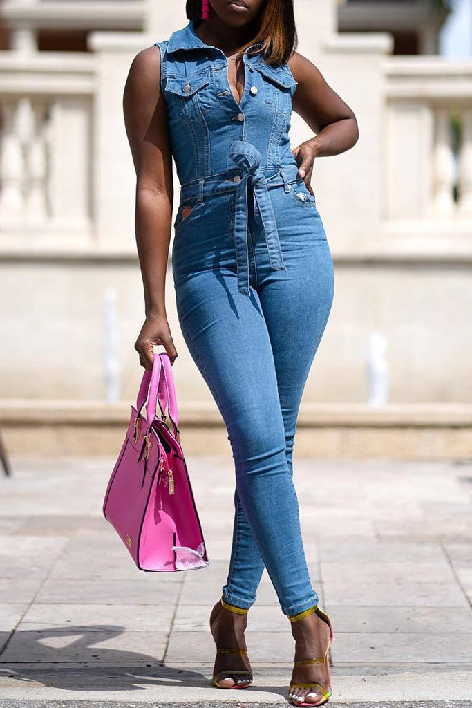Denim Sleeveless Turndown Collar Belted Jumpsuit