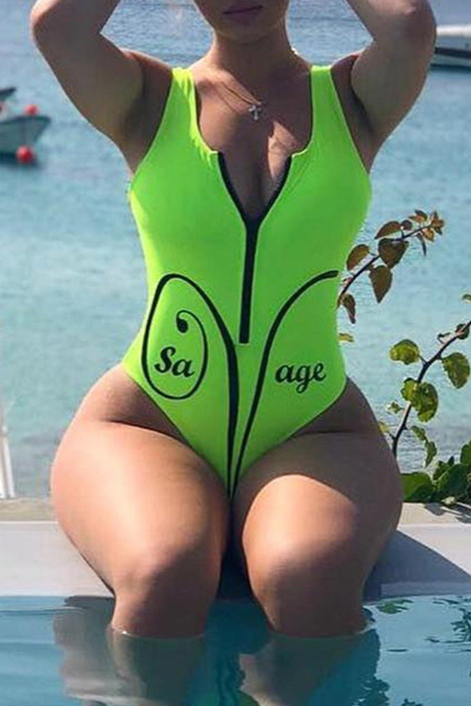 Letter Print Zipper Sleeveless One Piece Swimwear