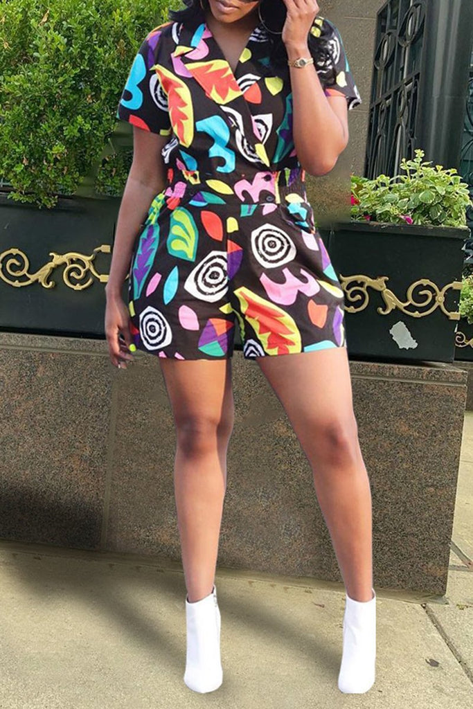 Colorful Digital Print Short Sleeve Romper