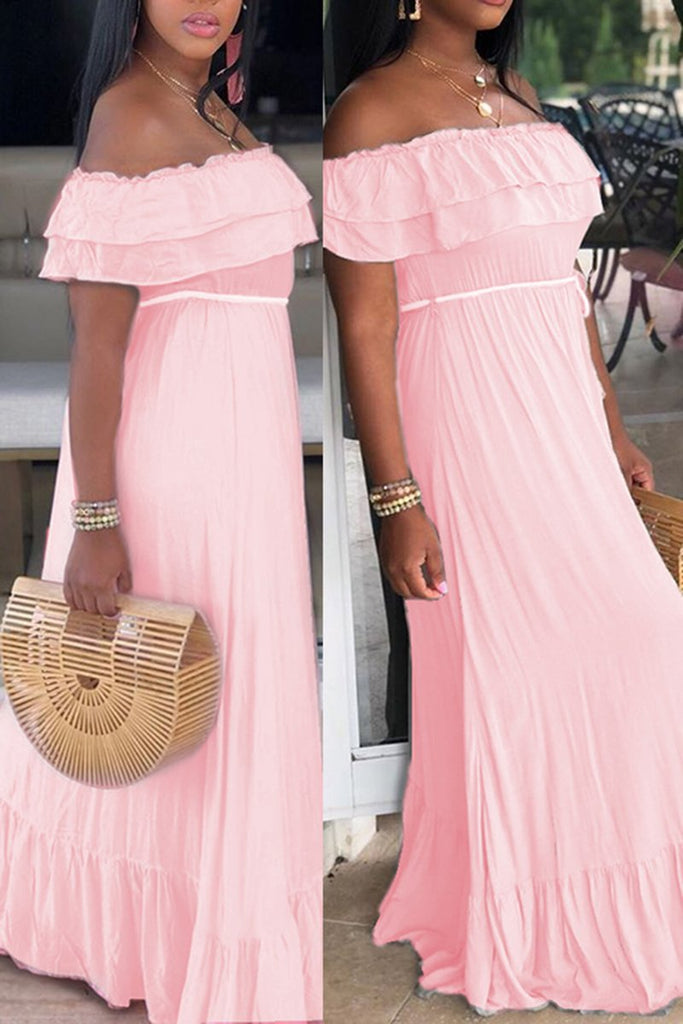 Solid Color Ruffled Maxi Dress With Belt