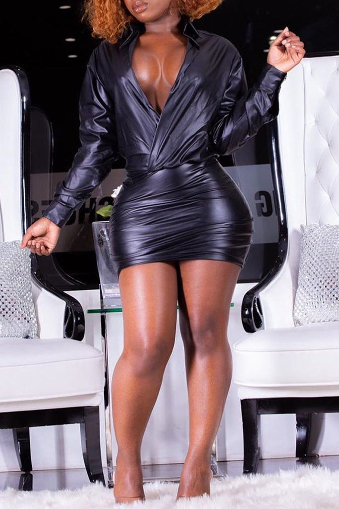 PU Deep V Neck Long Sleeve Mini Dress