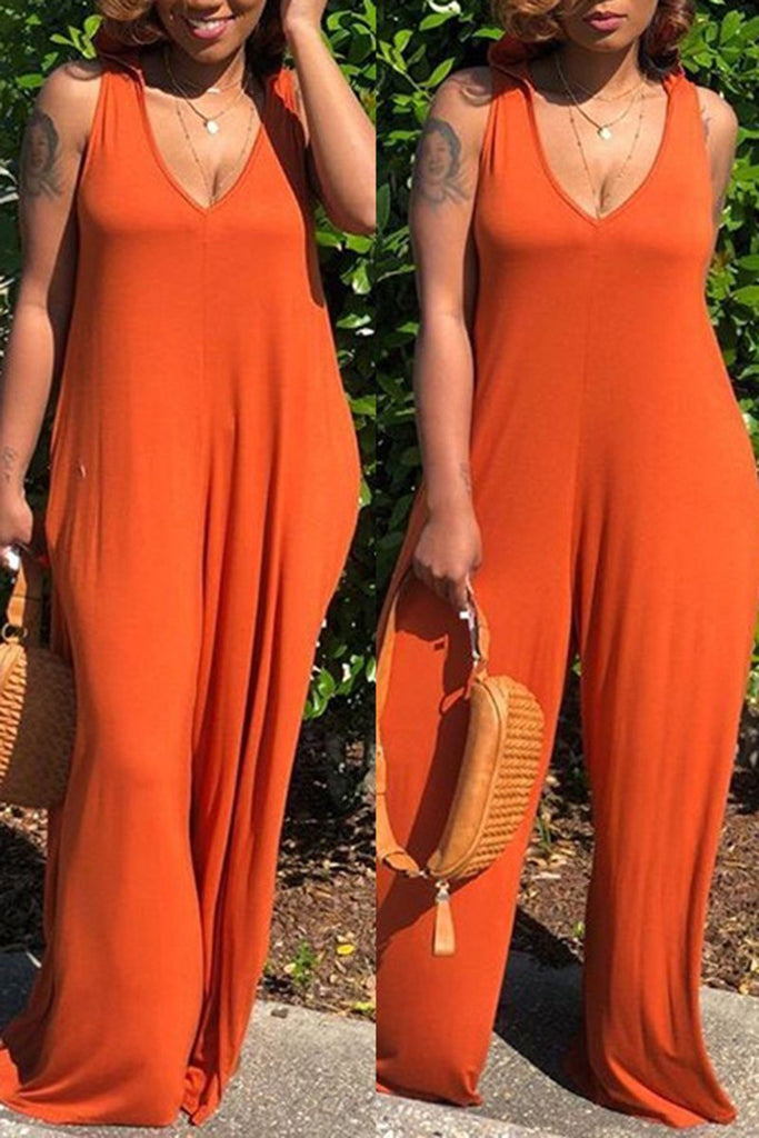 Plus Size Pocket Hooded Sleeveless Wide Leg Jumpsuit