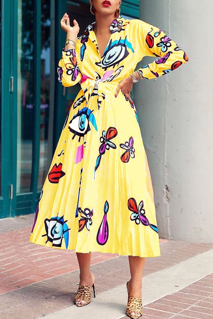Eye Print Knotted Two Piece Midi Dress