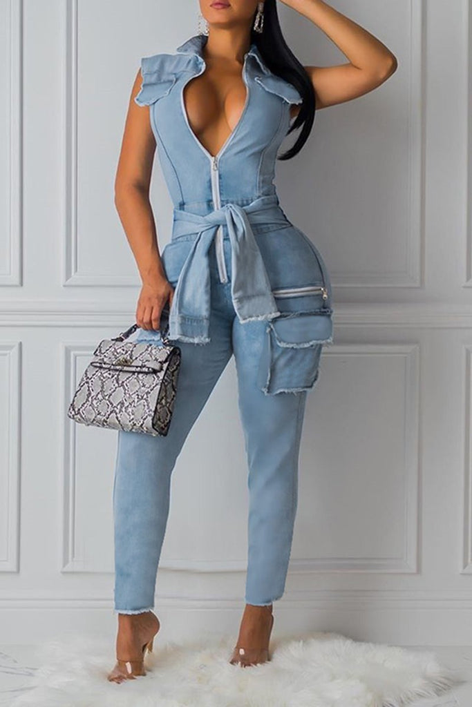 Pocket Denim Tie Up Jumpsuit