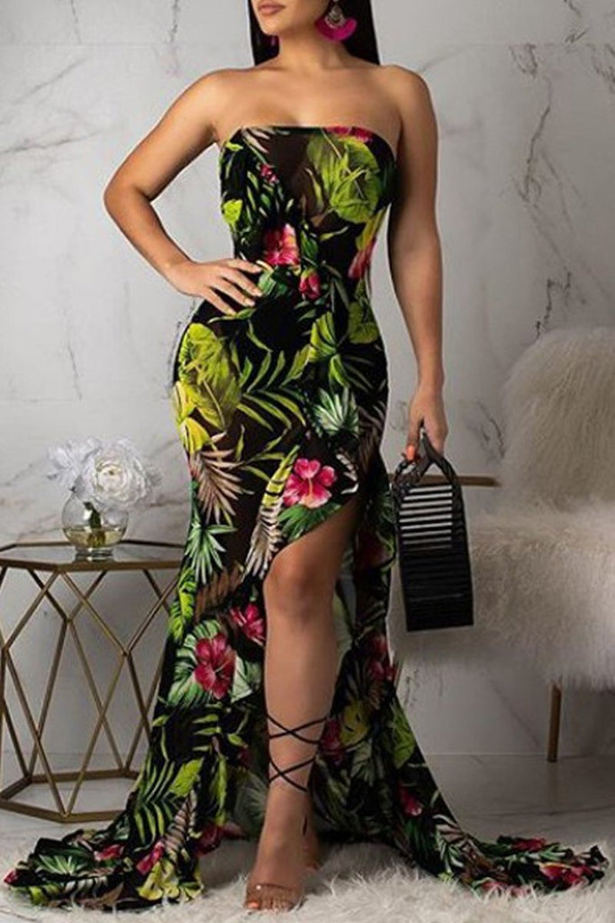 See-through Strapless Side Slit Asymmetric Hem Print Maxi Dress