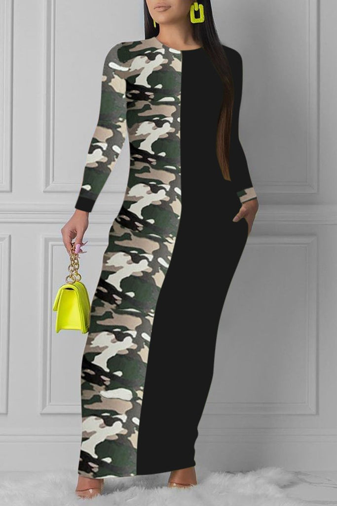 Camouflage Printed Patchwork Maxi Dress