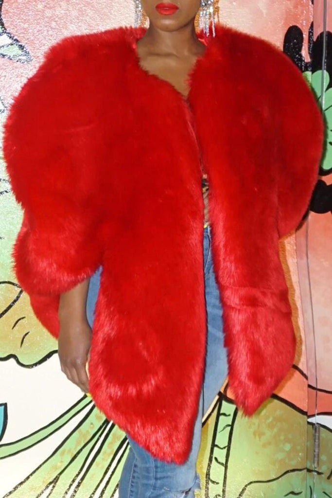 Solid Color Rabbit Fur Cape Coat