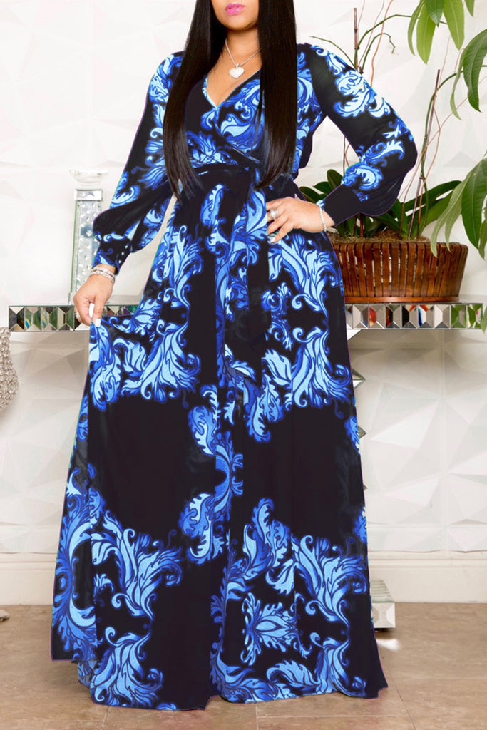 Chiffon Print V-neck Belted Maxi Dress