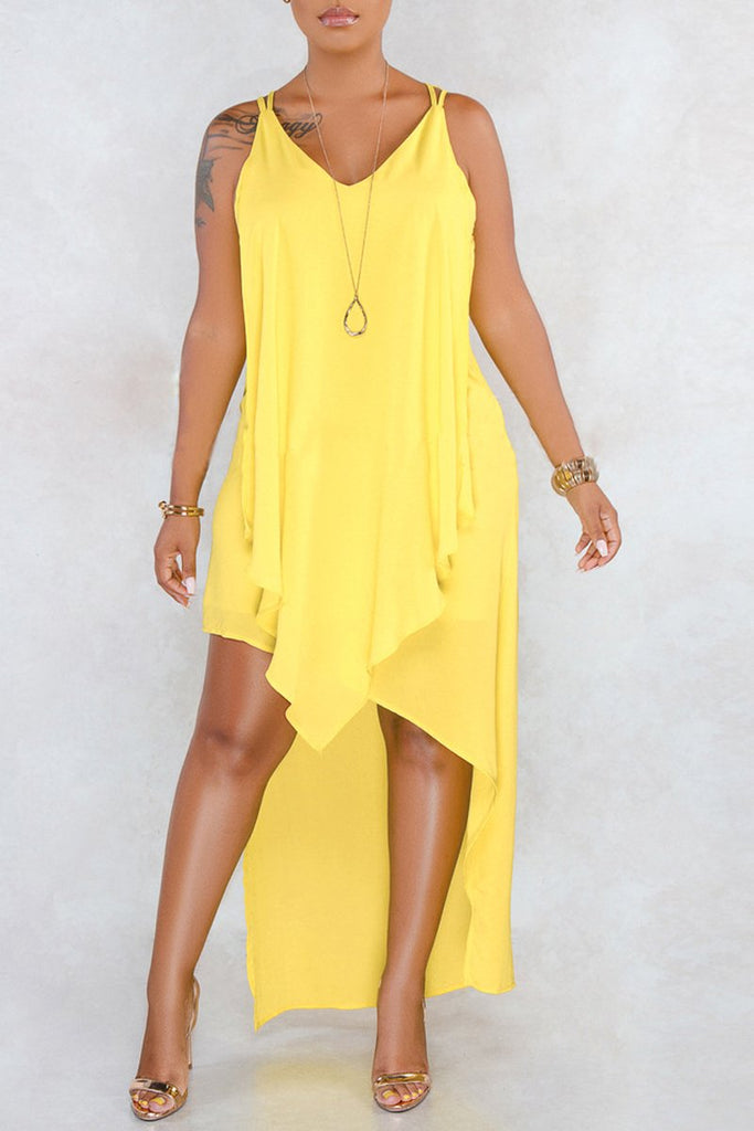 Solid Asymmetric Hem V-neck Sleeveless Midi Dress