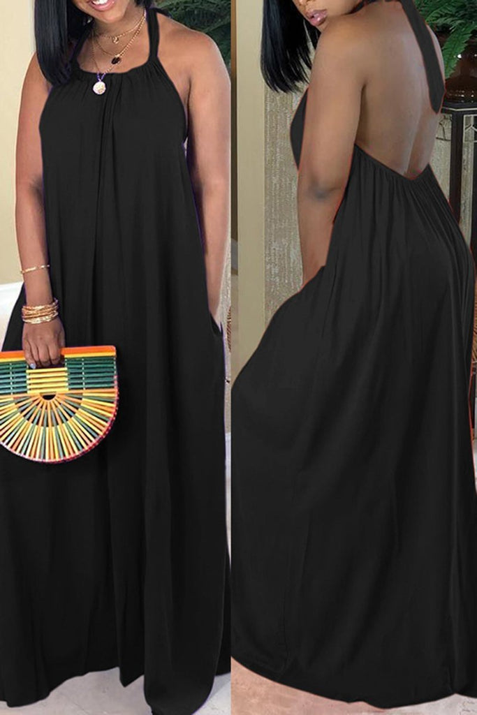 Open Back Halter Solid Color Casual Maxi Dress