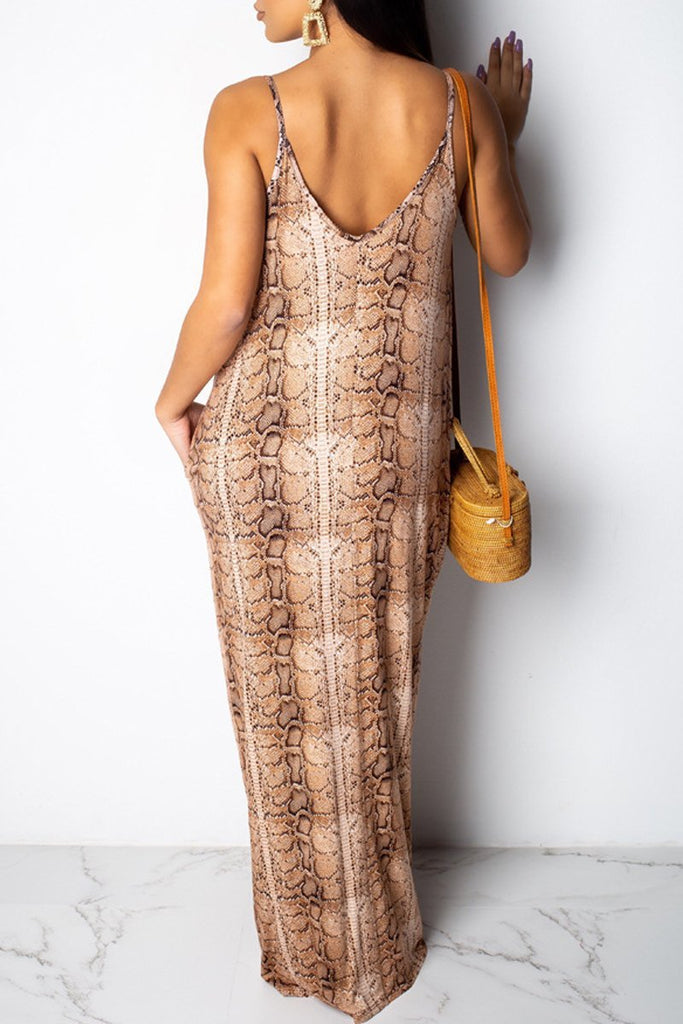 Deep V Neck Print Sleeveless Casual Pocket Maxi Dress