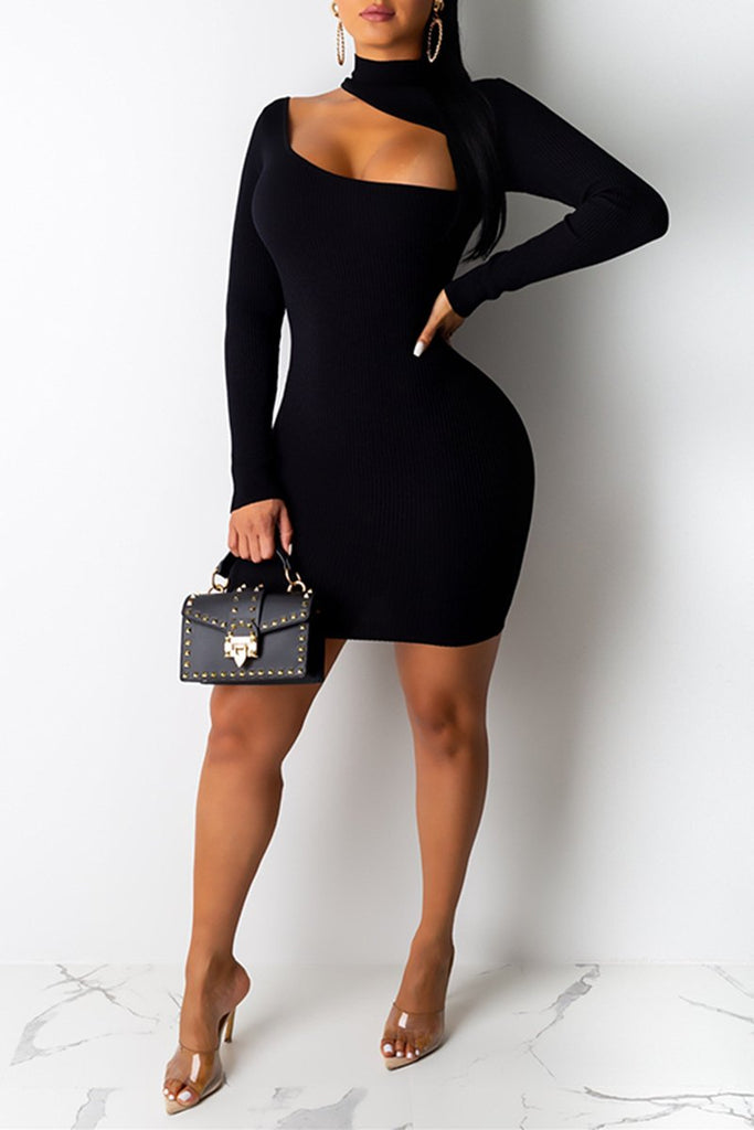 Solid Color Pierced Long Sleeve Rib Dress