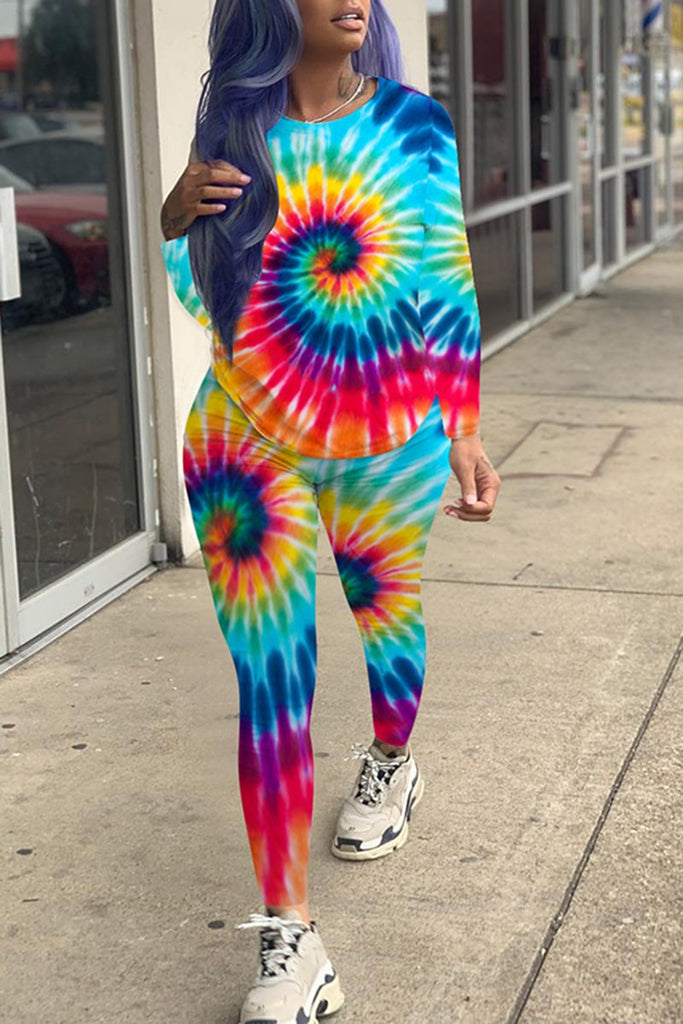 Tie Dye Plus Size Pocket Two Piece Outfits