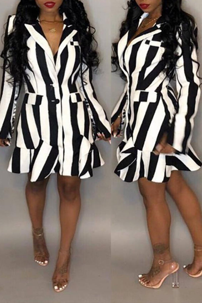 V-Neck Striped Button Ruffled Mini Dress
