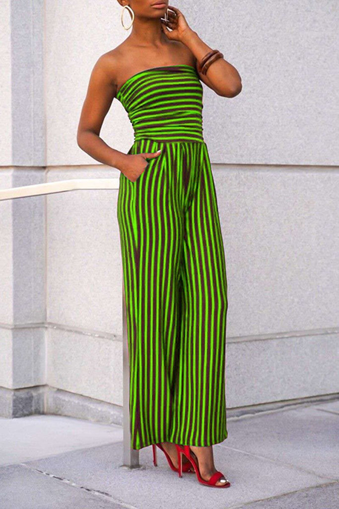 Strapless Pocket Striped Sleeveless Jumpsuit