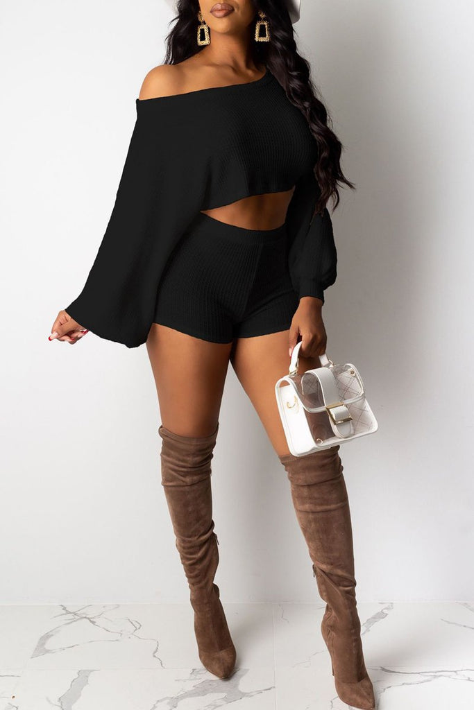 Skew Neck Long Sleeve Crop Top & Shorts