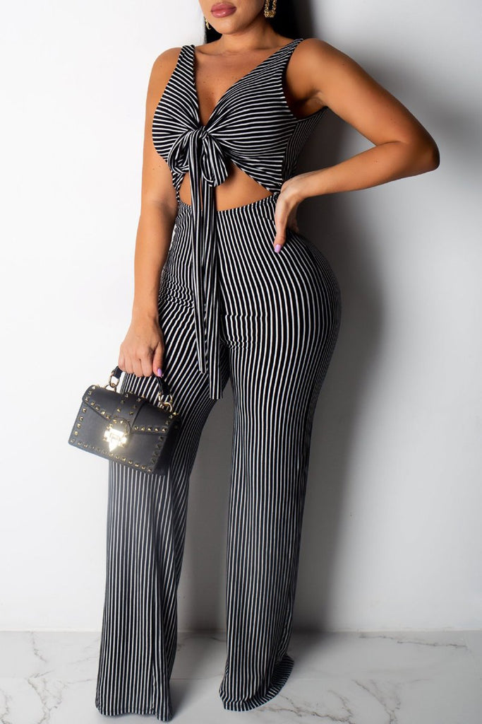 Stripe Print V-neck Tie Up Hollow Out Open Back Jumpsuit