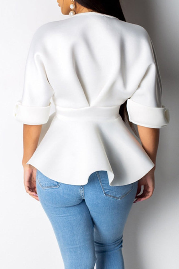 V-Neck Bowknot Half Sleeve Ruffled Blouse