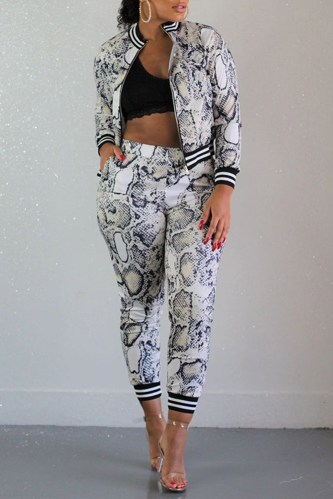 Snake Print Rib Patchwork Zipper Two Piece Outfits