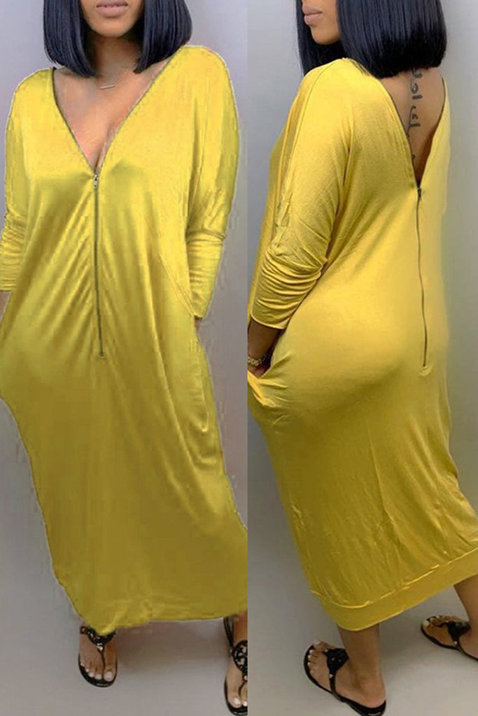 Pocket Zipper Solid Color Casual Dress
