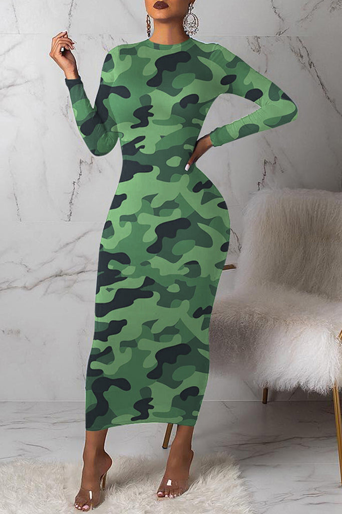 Camouflage Printed Long Sleeve Casual Maxi Dress