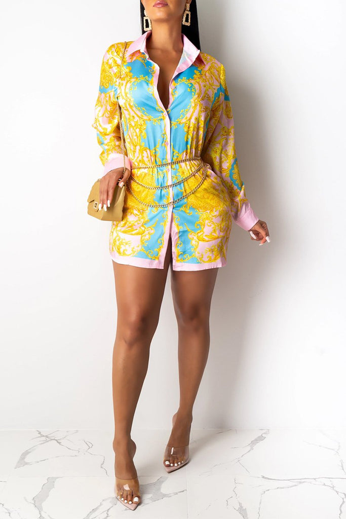 Button Up Printed Shirt Dress