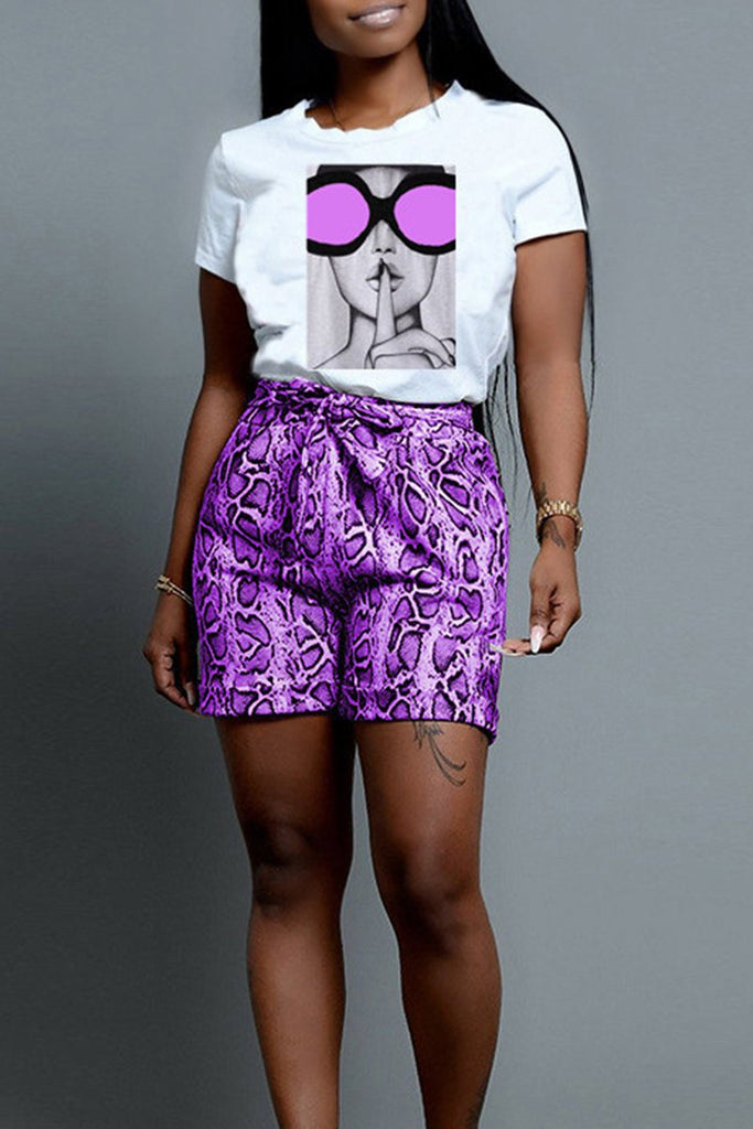 Cartoon Snake Print Belted Top & Shorts