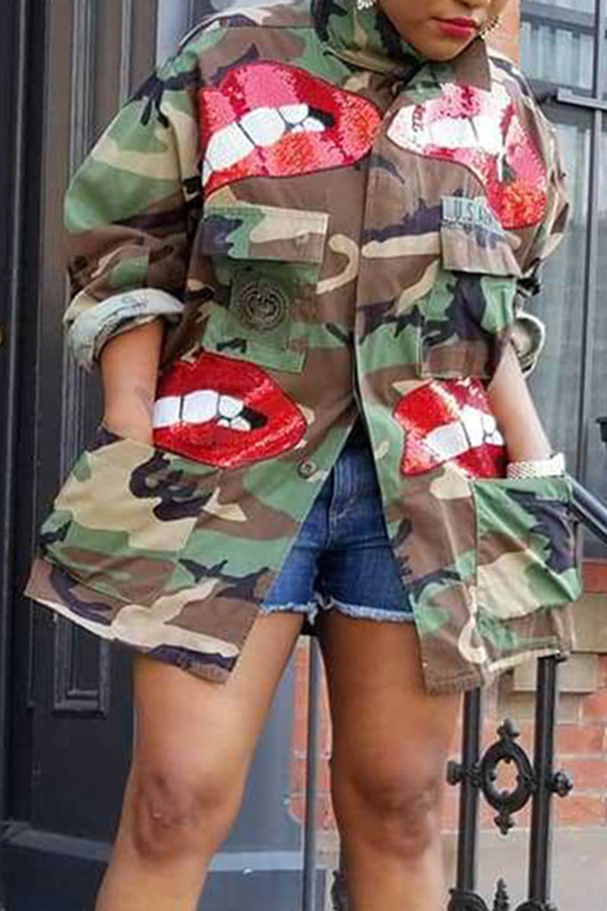 Lip Sequins Camouflage Pocket Coat