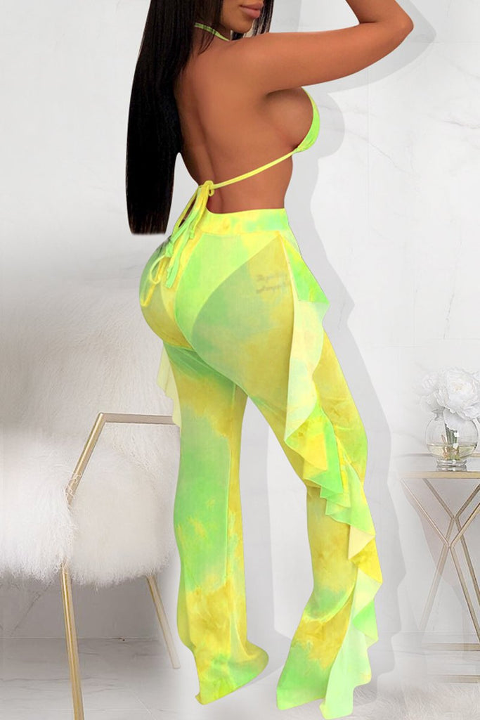 Ruffle Bandage Open Back Tie Dye Two Piece Sets