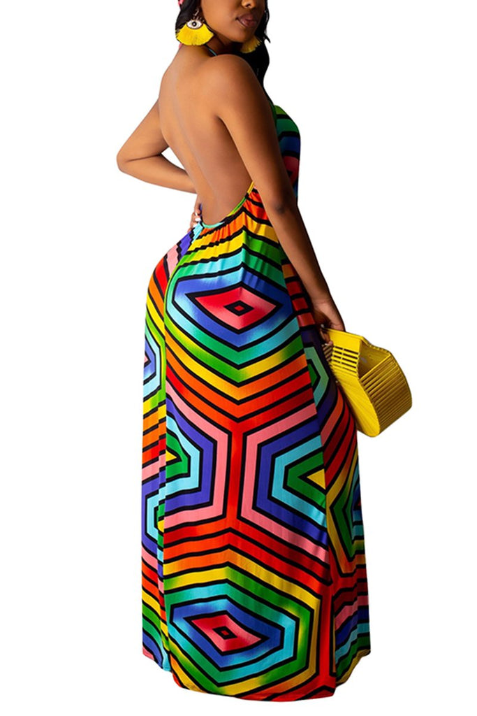 Halter Neck Colorful Printed Maxi Dress